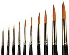 10 Piece Watercolour Round Brushes Set by Scarva
