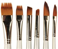 Scarva 6 Piece Golden Synthetic Hair Flat Brush Set