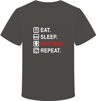 Scarva Apparel Eat, Sleep, Pottery, Repeat Unisex T-Shirt - Dark Grey