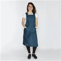 Enrich & Endure 100% Irish Linen Handmade Teal Cross Over Apron