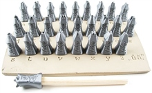 "Relyef Pottery Tools Set of Courier Alphabet Lower Case 1/4"" (6mm)"