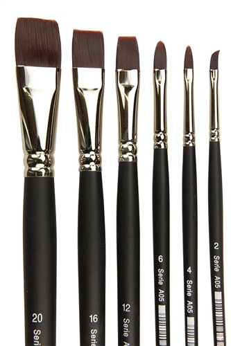 Scarva 6 Piece Acrylic Flat Brush Set  - Click to view larger image