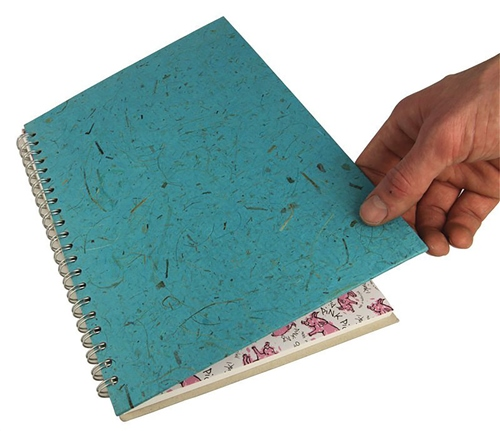 Scarva A3 Blue Silk Cover Spiral Sketchbook  - Click to view larger image