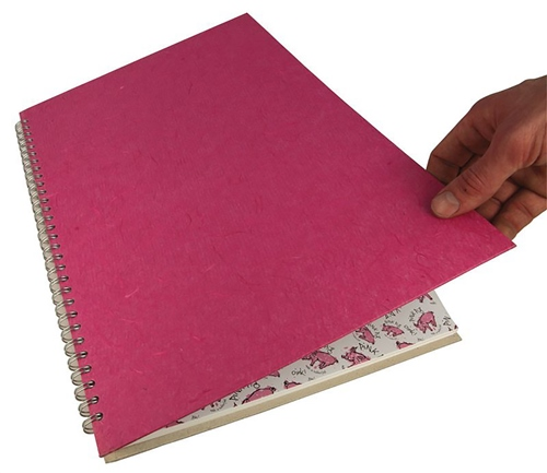 Scarva A3 Pink Silk Cover Spiral Sketchbook  - Click to view larger image