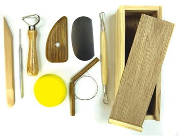 Scarva Tools Professional 8 Piece Pottery Set With Wooden Box  - Click to view larger image