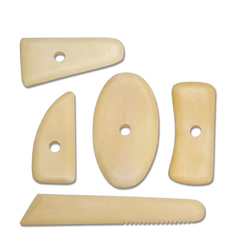 Scarva Tools Wooden Potters Rib Set of 5  - Click to view larger image