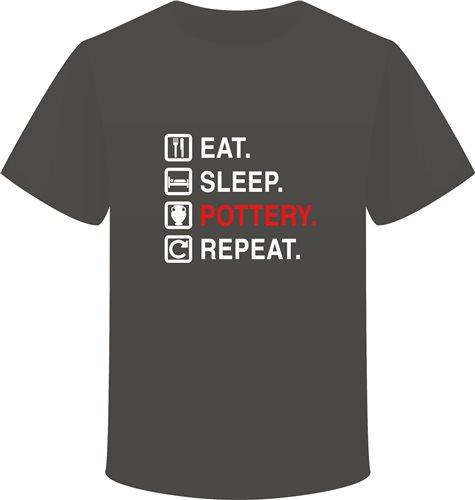 Scarva Apparel Eat, Sleep, Pottery, Repeat Unisex T-Shirt - Dark Grey  - Click to view larger image