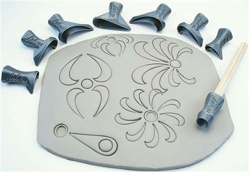 Relyef Pottery Tools Set of Flower Puzzle Set 04 Outline  - Click to view larger image