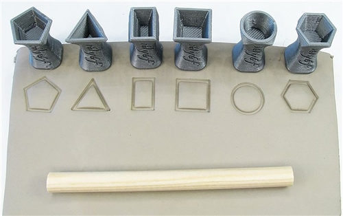 Relyef Pottery Tools Set of Geometric Shapes Stamps 15mm  - Click to view larger image