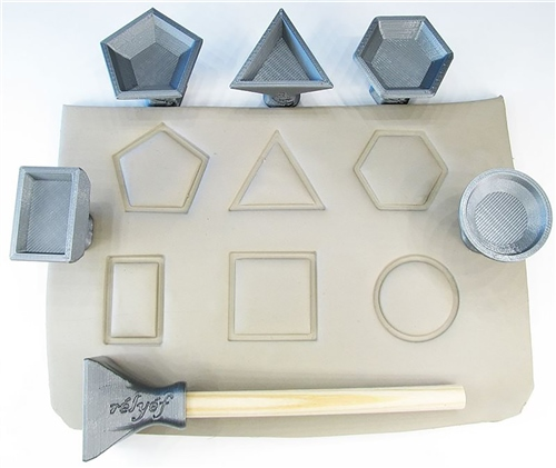Relyef Pottery Tools Set of Geometric Shapes Stamps 30mm  - Click to view larger image