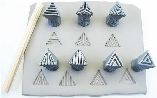 Relyef Pottery Tools Set of Isosceles Trianlge Stamps 15mm  - Click to view larger image