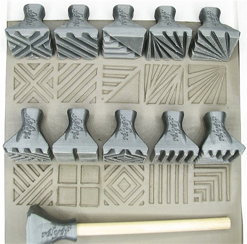 Relyef Pottery Tools Set of Jumbo Square Stamps 30 x 30mm  - Click to view larger image