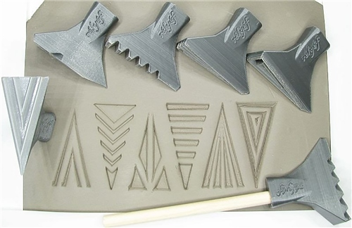 Relyef Pottery Tools Set of Jumbo Triangle Stamps 30 x 60mm  - Click to view larger image