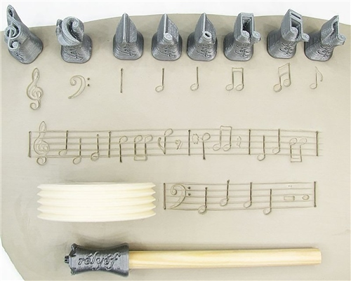 Relyef Pottery Tools Set of Music Symbols 15mm  - Click to view larger image