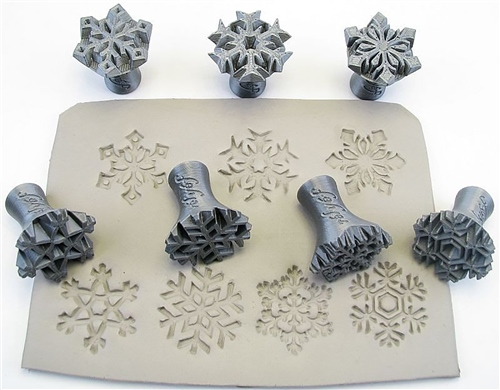 Relyef Pottery Tools Set of Snowflakes 30mm  - Click to view larger image