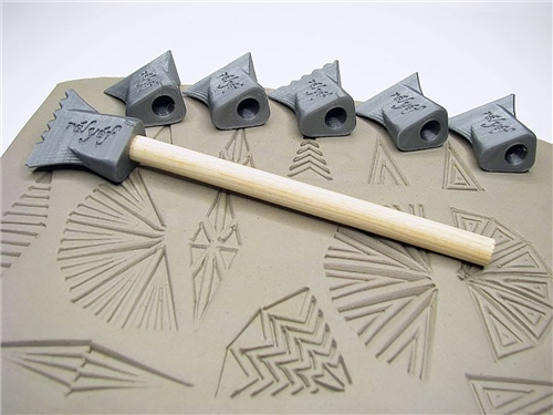 Relyef Pottery Tools Set of Stamps - 15 x 30mm  - Click to view larger image