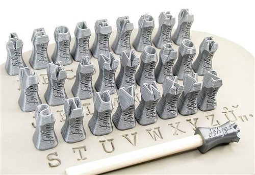 Relyef Pottery Tools Set of Courier Alphabet 10mm  - Click to view larger image