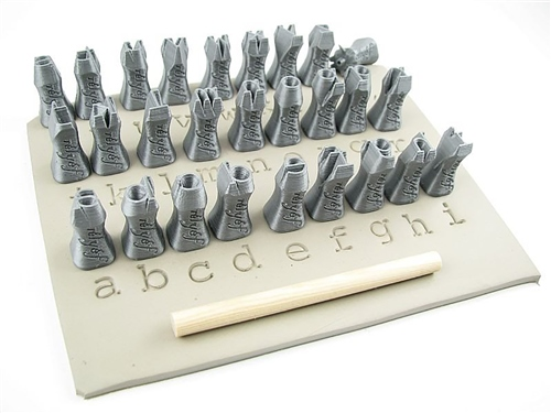 Relyef Pottery Tools Set of Courier Alphabet Lower Case 10mm  - Click to view larger image