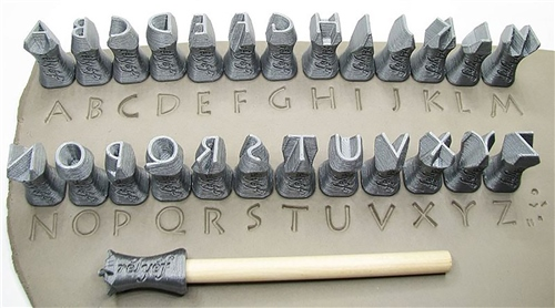 Relyef Pottery Tools Set of Lithos Alphabet 10mm  - Click to view larger image