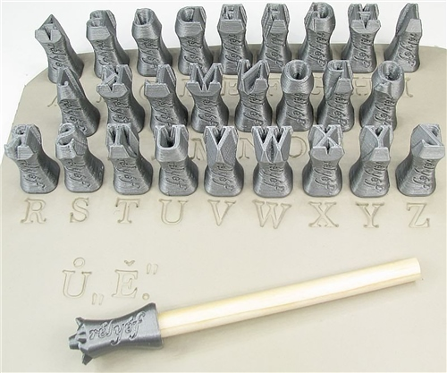 Relyef Pottery Tools Set of Marian Alphabet 10mm  - Click to view larger image