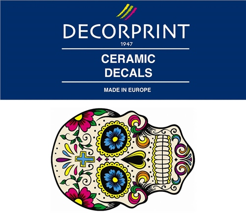 Decorprint Ceramic Decals - Hippie Skull 2  - Click to view larger image