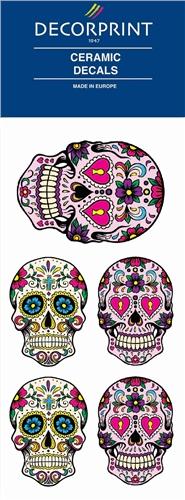 Decorprint Ceramic Decals - Hippy Skulls  - Click to view larger image