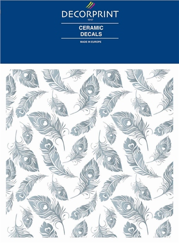 Decorprint Ceramic Decals - Peacock Silver  - Click to view larger image