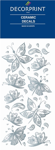 Decorprint Ceramic Decals - Silver Butterflies  - Click to view larger image