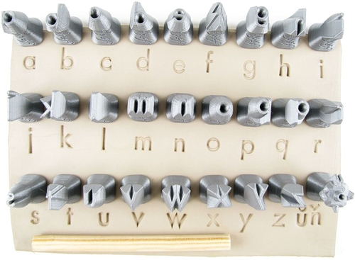 Relyef Pottery Tools Set of Futura Alphabet Lower Case 10mm  - Click to view larger image